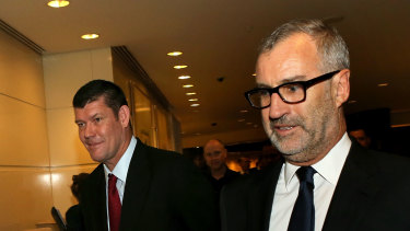 James Packer with then Crown chairman Robert Rankin in 2015.
