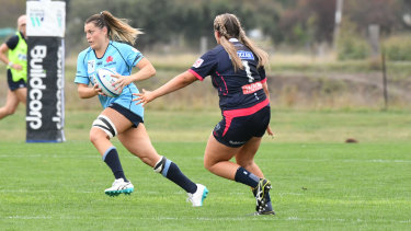Dominant display Grace Hamilton of the Waratahs on the burst against the Rebels in Bathurst.