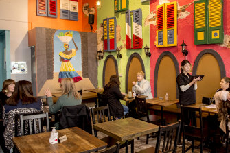 Exotik Latin Restaurant on King St in Newtown is observing safety measures such as social distancing for diners.