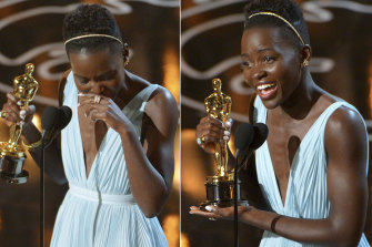 Lupita Nyong'o accepting the award for best actress in a supporting role.