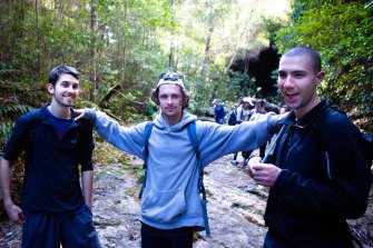 Michael Reidy (middle) has benefited from the social and emotional aspects of hiking.