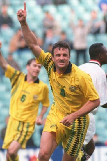 Kit and caboodle: Graham Arnold celebrating a goal against Ghana.