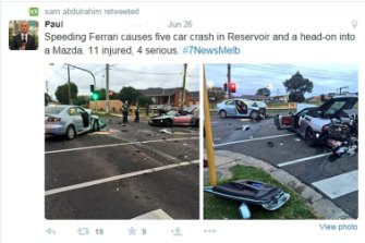 Re-Tweet of Channel 7 reports about the the crash