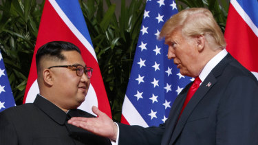 North Korean leader Kim Jong-un with US President Donald Trump.