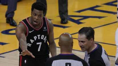 Man who shoved Toronto star in NBA Finals is Warriors part-owner