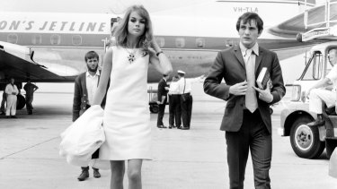 Jean Shrimpton and actor Terence Stamp arrive at Essendon Airport.