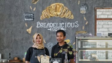 Staff at Breadelicious, a cafe on Gili Air, are back at work and waiting for tourists to return.