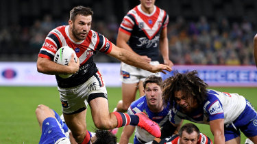 James Tedesco leaves his Bulldogs counterparts for dead at Bankwest Stadium.