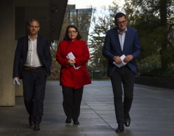 Victorian Chief Health Officer Brett Sutton, Health Minister Jenny Mikakos and Victorian Premier Dan Andrews (pictured from left to right).