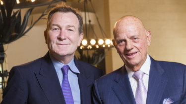 Premier Investments' CEO Mark McInnes, left, and chairman Solomon Lew.