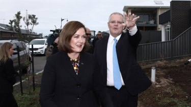 Prime Minister Scott Morrison campaigning with the member for Corangamite, Sarah Henderson, on Wednesday morning.