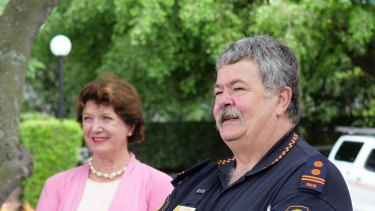 Brisbane SES local controller Lowry Boyd with Central ward councillor Vicki Howard.