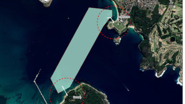 Map of area for proposed ferry path from La Perouse to Kurnell