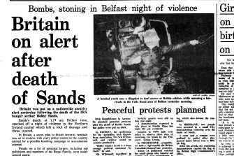 """Britain on alert after death of Sands."" Front page of Sydney Morning Herald, May 6, 1981"