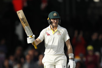 Marnus Labuschagne acknowledges the crowd after reaching 50.