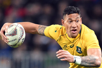 Israel Folau in action for the Wallabies against New Zealand in August 2017.