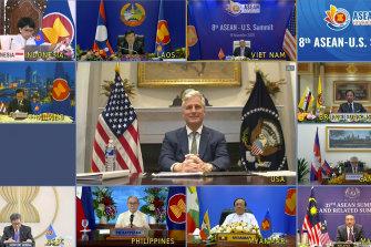 US national security adviser Robert O'Brien addresses a virtual ASEAN summit in 2020.