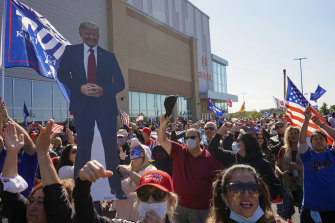 People gather at the Staten Island Triumph Rally 2020 in support of President Donald Trump on Saturday.