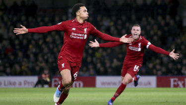 addf95a225e Marching on  Trent Alexander-Arnold (left) celebrates his superb goal as  Liverpool
