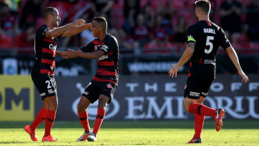 Muted celebration: Tarek Elrich's goal helped the Wanderers to a 2-0 win, but he wasn't getting carried away.