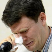Otto Warmbier cries while speaking to reporters in Pyongyang, North Korea in February 2016.