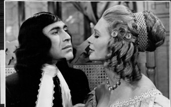 Ron Haddrick as Tartuffe in Moliere's  satire makes advances to Elmire (Jennifer Wright),  in a scene from the play, 1965.