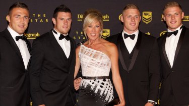 (L-R) Sam, Luke, Julie (their mother), George and Tom Burgess at the Dally M Awards in 2013.
