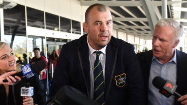 Outgoing Wallabies coach Michael Cheika arrives at Sydney Airport following Australia's quarter-final loss to England.