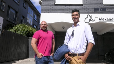 """Kobi Boaran with business partner Sagi Mitlin (left) bought the St Kilda apartment last year as a """"buy, renovate and sell"""" project to make some profit."""