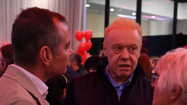 Billionaire Anthony Pratt was an early attendee at Labor's election-night event in Melbourne on Saturday.