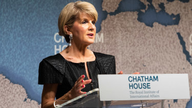 Foreign Minister Julie Bishop gave some pointed remarks about the US during a speech at London's Chatham House.