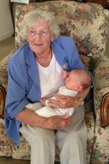 June Alston with her great-nephew Charlie, Konrad Marshall's son.