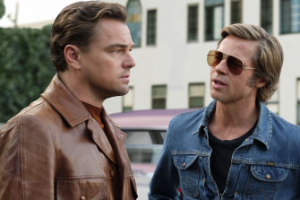 Brad Pitt, right, with Leonardo DiCaprio in Once Upon a Time ...in Hollywood. Pitt plays stuntman Cliff Booth.