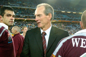 Wayne Bennett celebrates an Origin series defence as Maroons coach back in 2002.