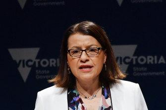 Health Minister Jenny Mikakos addresses the media on Tuesday.
