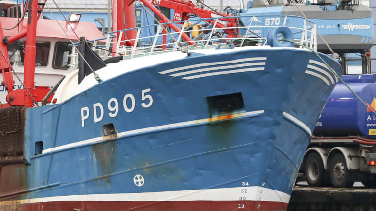 The bow of the Honeybourne 3, a Scottish scallop dredger, in dock at Shoreham, south England, following clashes with French fishermen in the early hours of Tuesday morning off France's northern coast.