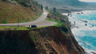 The pullout on the Pacific Coast Highway where the SUV of Jennifer and Sarah Hart was recovered.
