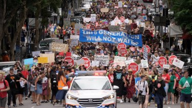 Thousands walked the streets of Brisbane to protest Adani.