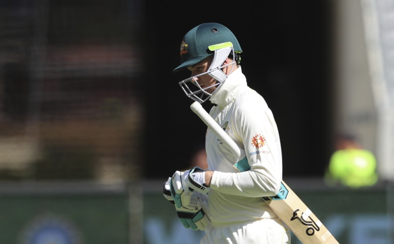 Opportunity lost: Peter Handscomb departs after falling for seven on Friday.