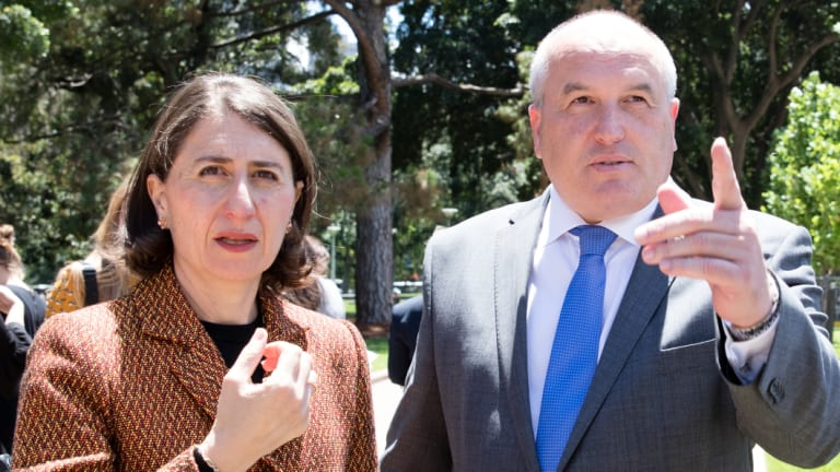NSW Premier Gladys Berejiklian and David Elliott on Thursday.