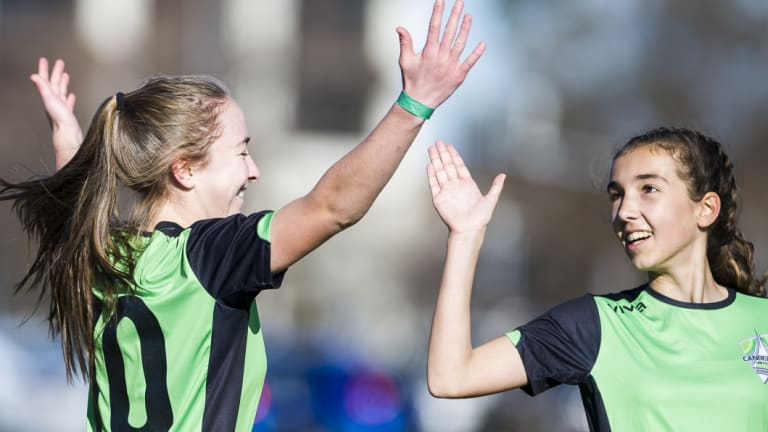 Canberra United Academy's Laura Hughes celebrates after scoring a goal.