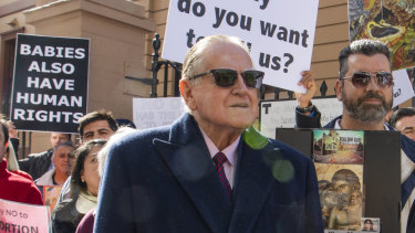 Fred Nile joins an anti-abortion rally outside NSW Parliament House.