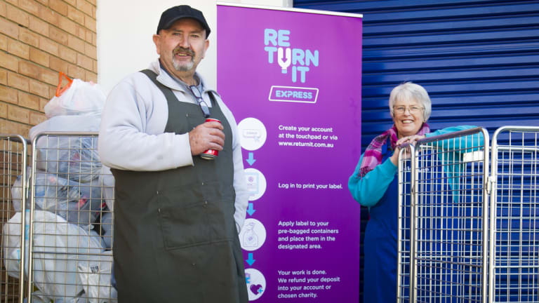 Vinnies volunteer Fabian Aguilar with assistant centre manager, Clare Kell, at the container deposit scheme drop off point.
