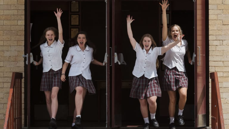 Tiffany Naylor, Stefanie Dellzeit, Irelish Barker and Brittany Hickey are among 4240 year 12 students who sat the drama exam on Friday afternoon, marking the end of this year's HSC.