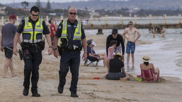 Police patrol Chelsea beach after a string of crime last week.