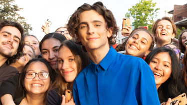 The King premiere: Timothee Chalamet greets crowds outside The Ritz cinema.