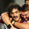 Manly's Origin stars watch as Foran and Schuster barbecue Dragons