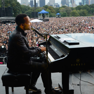 John Legend at the first Global Citizen Festival in New York in 2012.