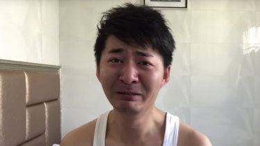 Chen Qiushi getting emotional as he records a video log that was published on January 30.