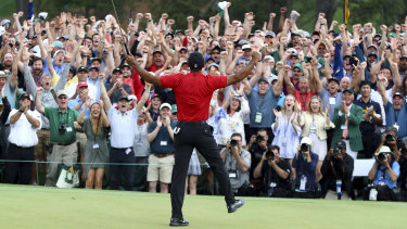 Tiger Woods celebrates victory in this year's Masters.